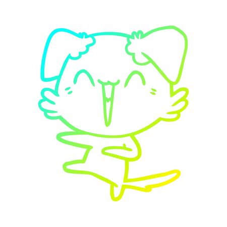 cold gradient line drawing of a happy dancing dog cartoon Illustration