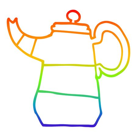 rainbow gradient line drawing of a cartoon coffee pot