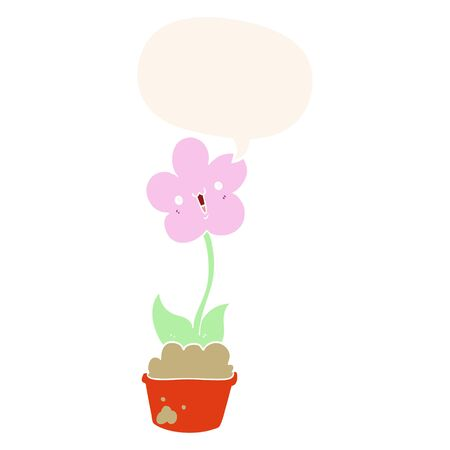 cute cartoon flower with speech bubble in retro style Illustration