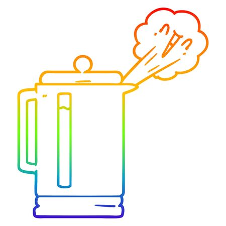 rainbow gradient line drawing of a cartoon electric kettle boiling
