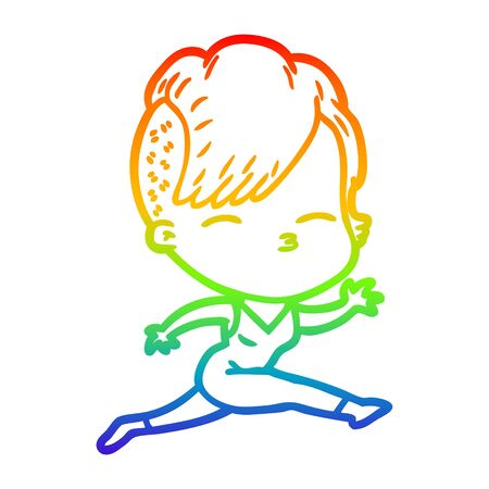 rainbow gradient line drawing of a cartoon girl leaping Ilustração