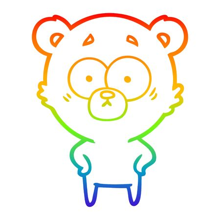 rainbow gradient line drawing of a surprised bear cartoon