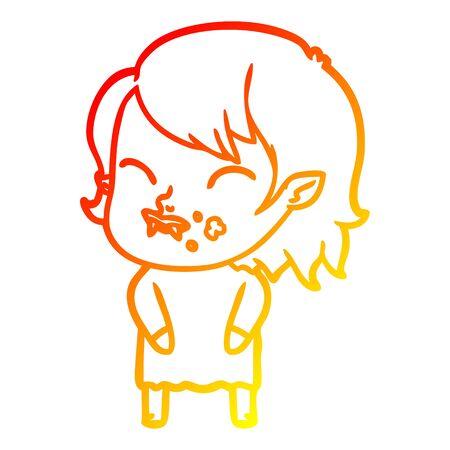 warm gradient line drawing of a cartoon vampire girl with blood on cheek Banco de Imagens - 128596717