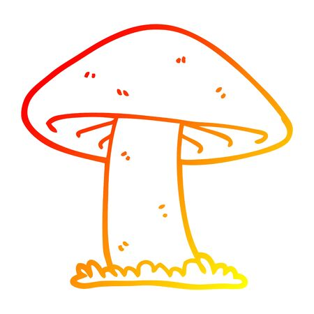 warm gradient line drawing of a cartoon mushroom Иллюстрация