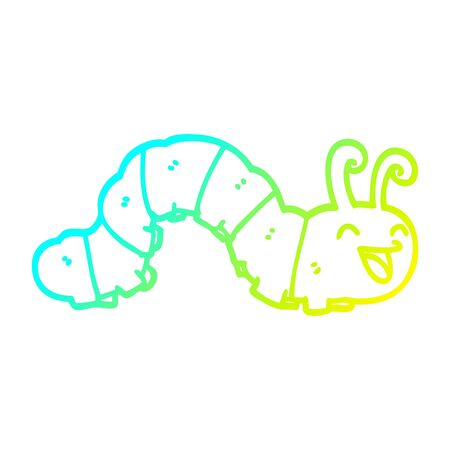 cold gradient line drawing of a cute cartoon caterpillar Ilustração