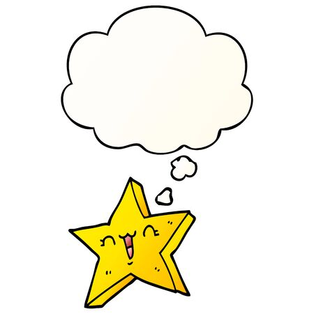 cute cartoon star with thought bubble in smooth gradient style