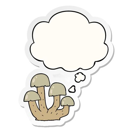 cartoon mushroom with thought bubble as a printed sticker