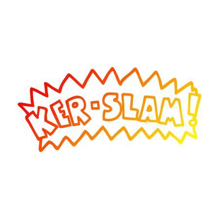 warm gradient line drawing of a cartoon word ker-slam