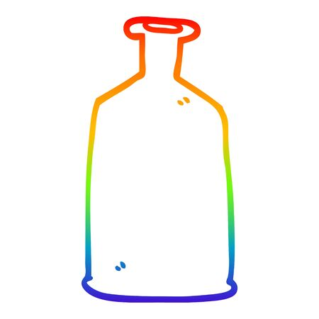 rainbow gradient line drawing of a cartoon clear glass bottle
