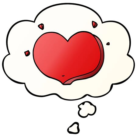 cartoon love heart with thought bubble in smooth gradient style Ilustracja