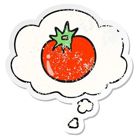 cartoon tomato with thought bubble as a distressed worn sticker Illusztráció