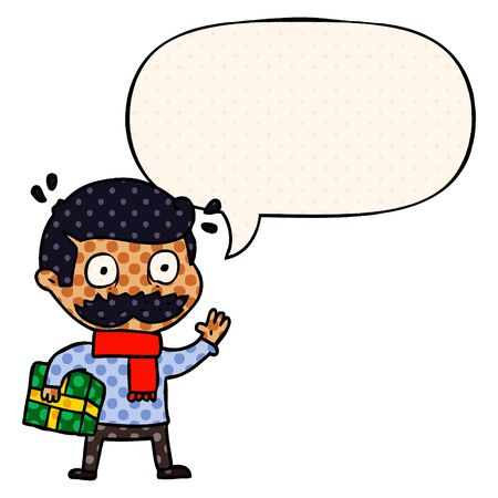 cartoon man with mustache and christmas present with speech bubble in comic book style Stock Illustratie