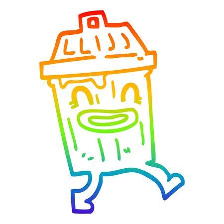 rainbow gradient line drawing of a cartoon waste bin