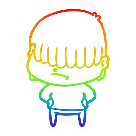 rainbow gradient line drawing of a cartoon boy with untidy hair