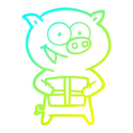 cold gradient line drawing of a cheerful pig with christmas gift