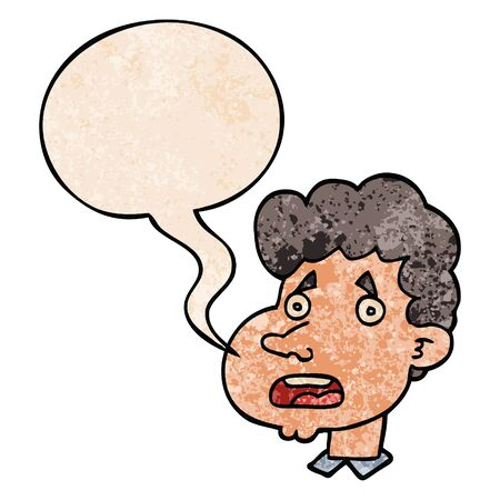 cartoon shocked man with speech bubble in retro texture style