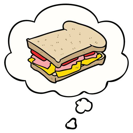 cartoon ham sandwich with thought bubble