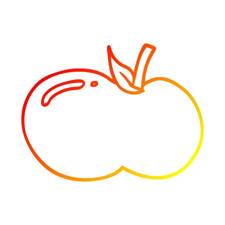 warm gradient line drawing of a cartoon apple