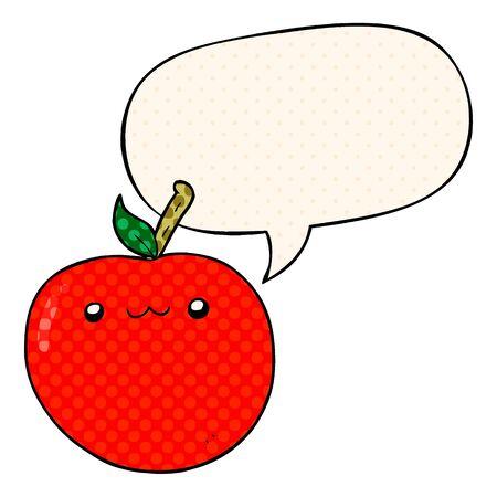 cartoon cute apple with speech bubble in comic book style