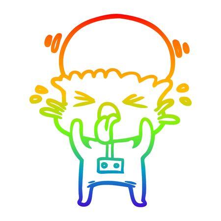 rainbow gradient line drawing of a weird cartoon alien