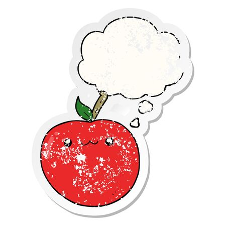 cartoon cute apple with thought bubble as a distressed worn sticker Ilustracja