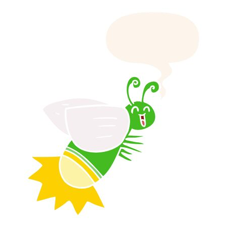 cartoon glow bug with speech bubble in retro style Foto de archivo - 128596769