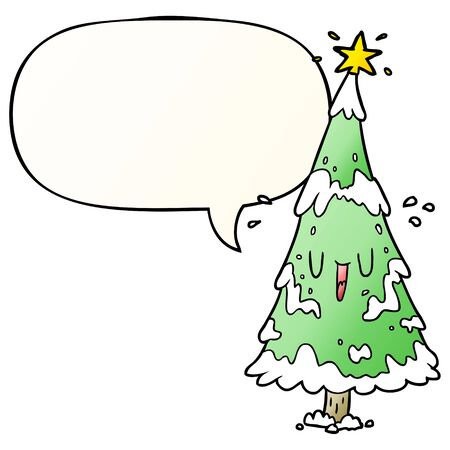 cartoon snowy christmas tree with happy face with speech bubble in smooth gradient style