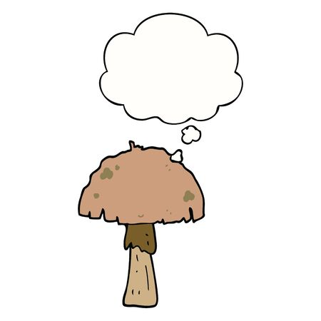 cartoon mushroom with thought bubble 일러스트