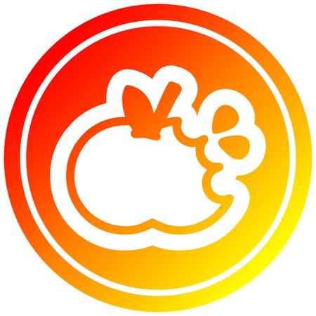 bitten apple circular icon with warm gradient finish Ilustração