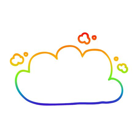 rainbow gradient line drawing of a cartoon white cloud