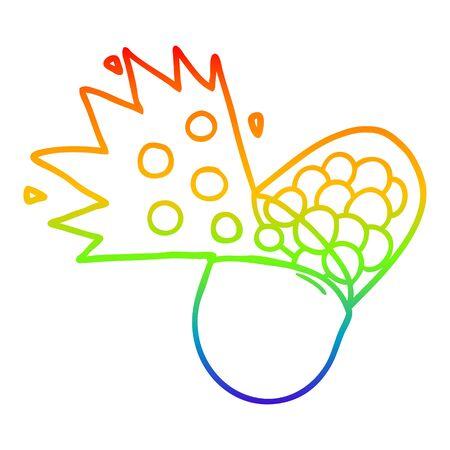 rainbow gradient line drawing of a cartoon powerful medicine