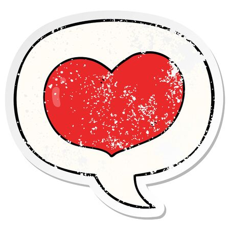 cartoon love heart with speech bubble distressed distressed old sticker