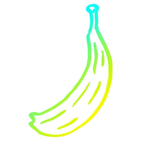 cold gradient line drawing of a cartoon banana