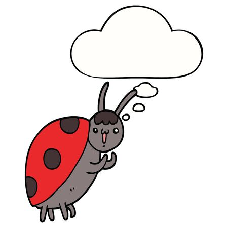 cute cartoon ladybug with thought bubble 스톡 콘텐츠 - 128596790