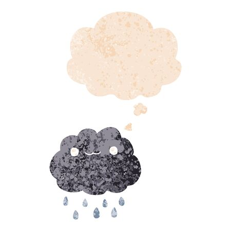 cartoon cloud with thought bubble in grunge distressed retro textured style