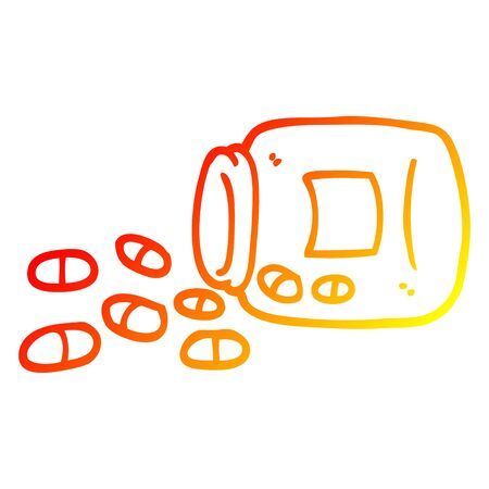 warm gradient line drawing of a cartoon jar of pills