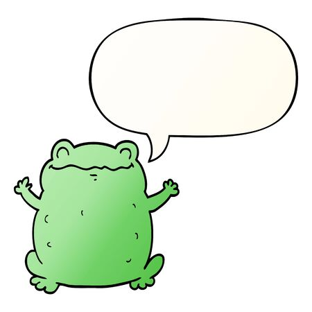 cartoon toad with speech bubble in smooth gradient style