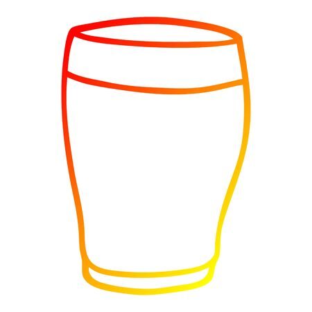 warm gradient line drawing of a cartoon pint of stout