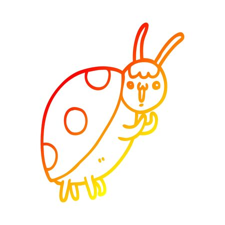 warm gradient line drawing of a cute cartoon ladybug Ilustracja