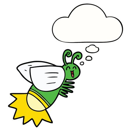 cartoon glow bug with thought bubble Banque d'images - 128596807