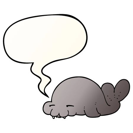 cartoon seal with speech bubble in smooth gradient style