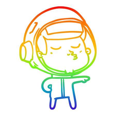 rainbow gradient line drawing of a cartoon confident astronaut  イラスト・ベクター素材