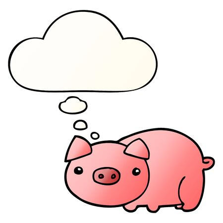 cartoon pig with thought bubble in smooth gradient style Ilustração