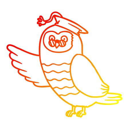 warm gradient line drawing of a cartoon owl graduate Illustration