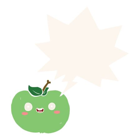 cartoon apple with speech bubble in retro style