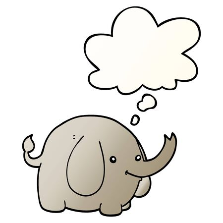 cartoon elephant with thought bubble in smooth gradient style