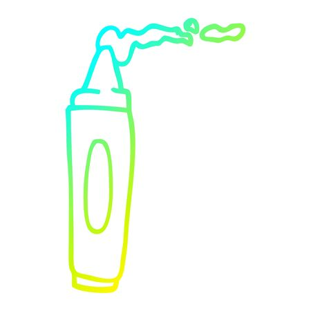 cold gradient line drawing of a cartoon coloring crayon