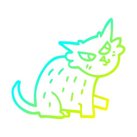 cold gradient line drawing of a cartoon ginger cat