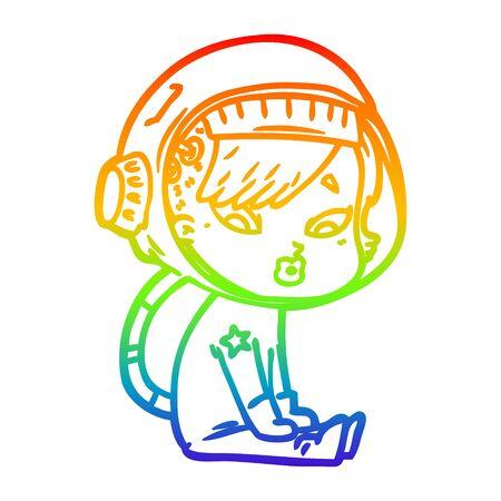 rainbow gradient line drawing of a cartoon astronaut woman  イラスト・ベクター素材