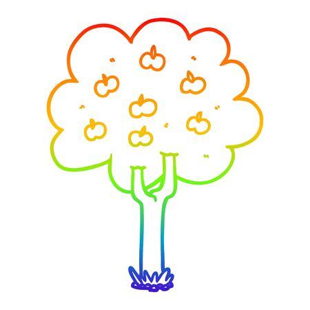 rainbow gradient line drawing of a cartoon apple tree Ilustracja